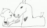 Paard omarmd