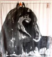 Diep zwart paard 2012 100x118 waterverf op katoen