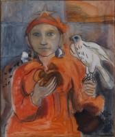 Vrouw met Valk 2013 50x60 olieverf verkocht