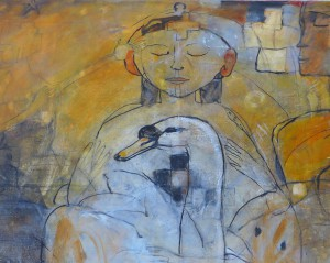 'uitsnede de zwaan en het meisje' 2015 120x100 olieverf op doek